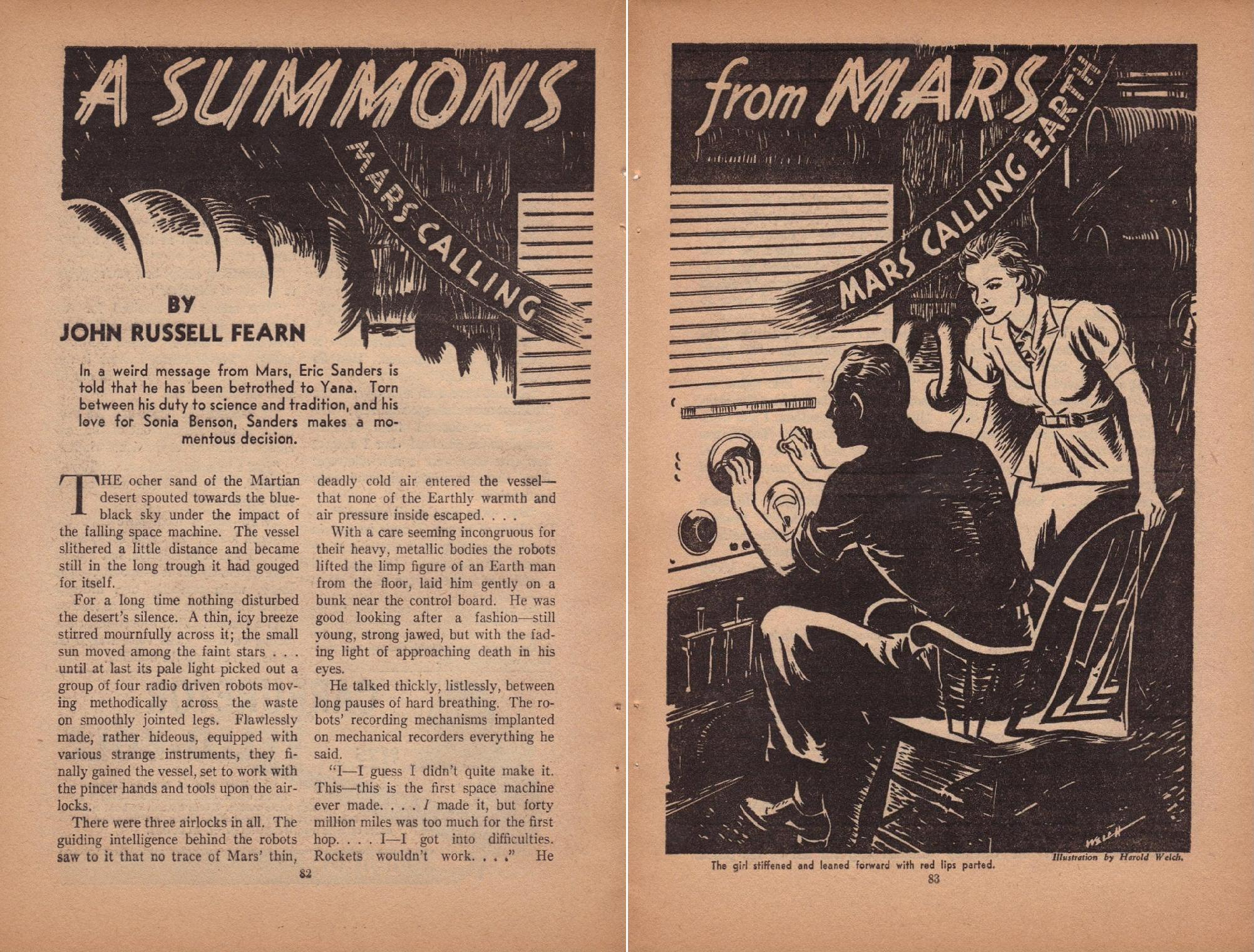 A Summons from Mars by Harold Kee Welch, 1938